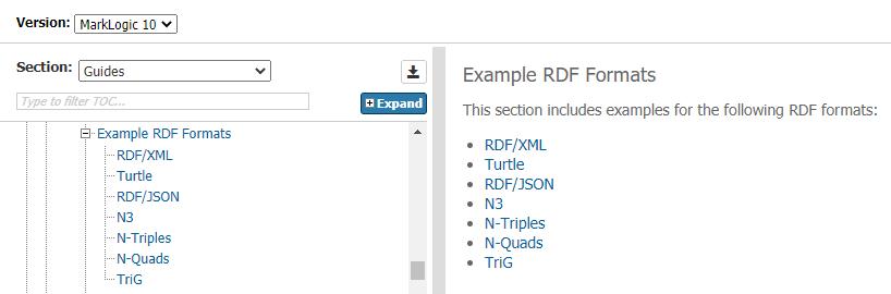 MarkLogic semántica características formatos de archivos documentación